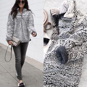 Sherpa Fleece fuzzy sweater pullover jacket